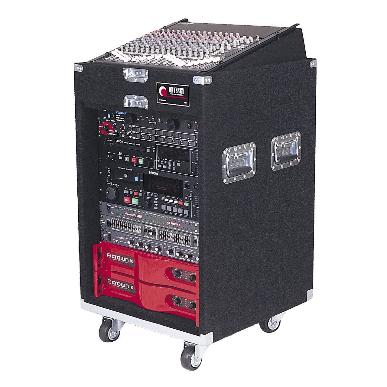 Odyssey CXP1114W Pro Combo Carpeted Rack With Recessed Hardware And Wheels: 11u Top, 14u Bottom
