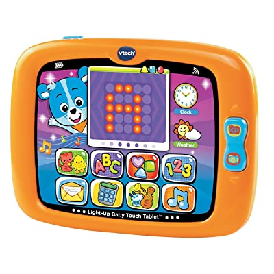 VTech Early Education Toy Light-Up Baby Touch Tablet, Orange Music Toy for Kids: Toys & Games