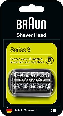 Braun Series 3 21B Cabezal de Recambio para Afeitadora Eléctrica, Compatible con las Afeitadoras Series 3, Negro ...