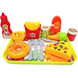 Popsugar 15pcs Fast Food Set with Pizza, Fries, Donut, Waffle  and Ice Cream Role Play Toy for Kids,