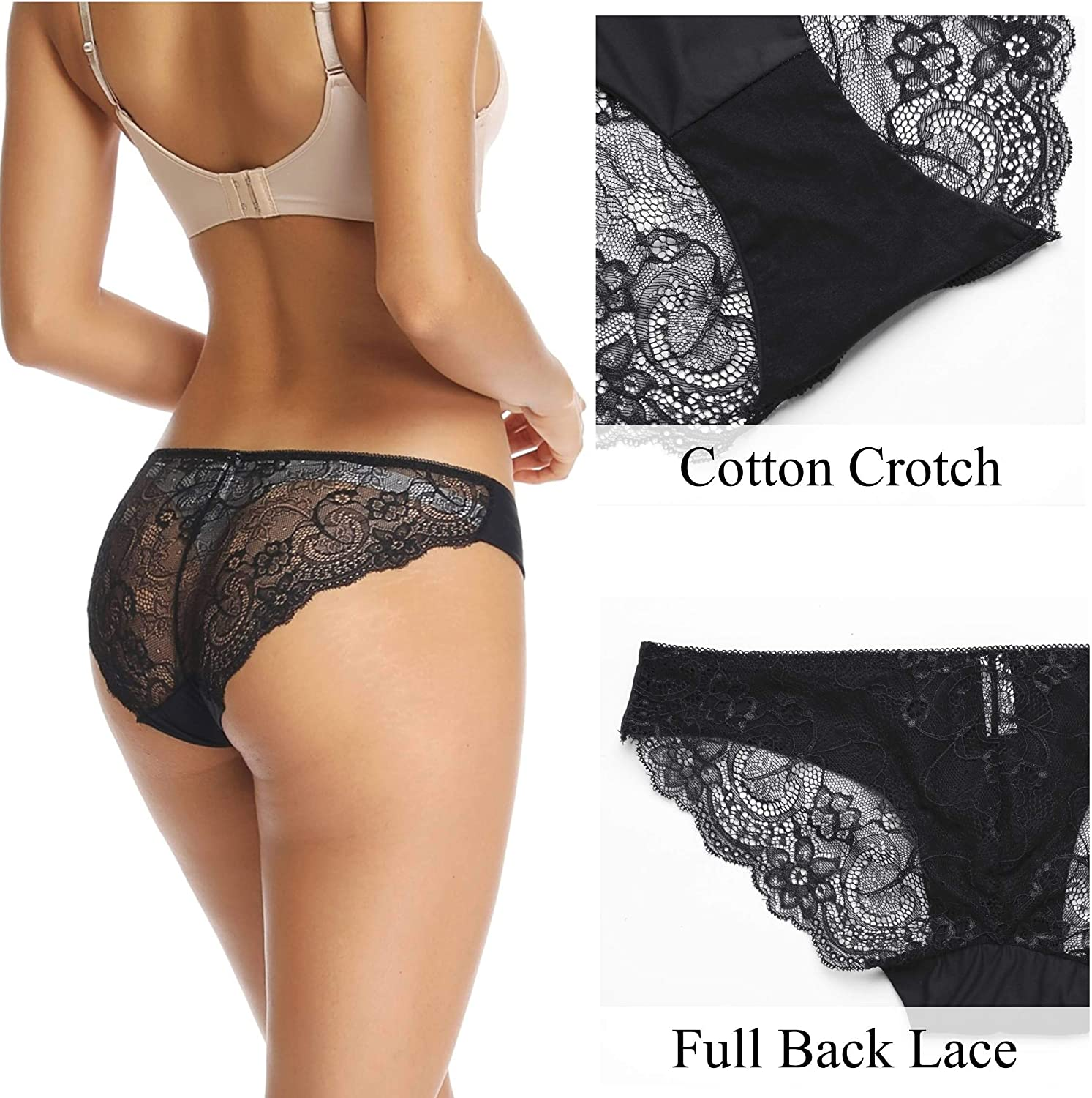 Lace Bikini Briefs Invisible No Show Underwear Low Rise Seamless Comfortable Breathable Knickers Hipsters WOWENY 3 Packs Women Lace High Leg Panties