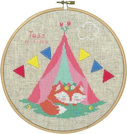 8 Vervaco PN-0155355 14 Count Round Fox in Tent Birth Record on Aida Counted Cross Stitch Multicolor