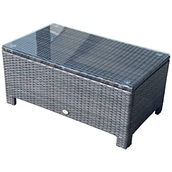 Outsunny Rattan Garden Furniture Coffee Table Patio Tempered Glass