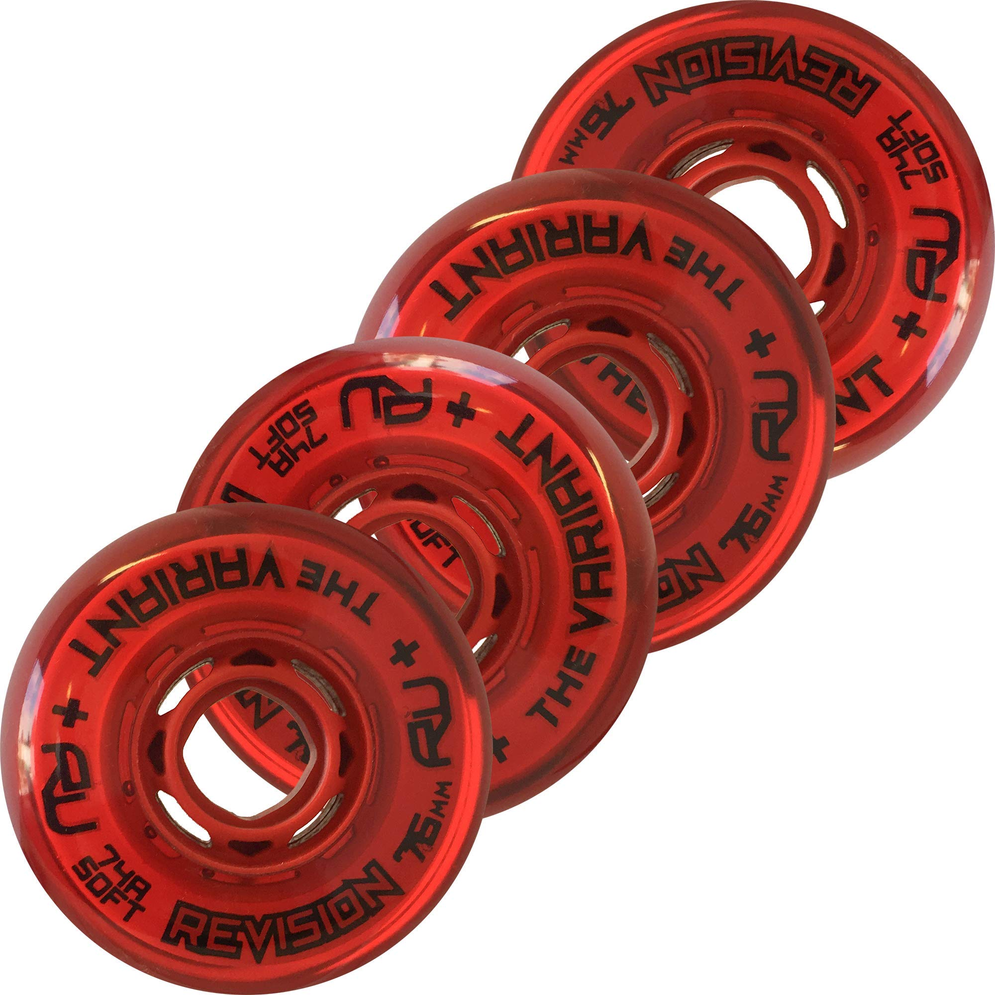 Revision Variant Indoor Inline Roller Hockey Wheel - 74A - 76mm Soft 4 Pack - Red by Revision Hockey