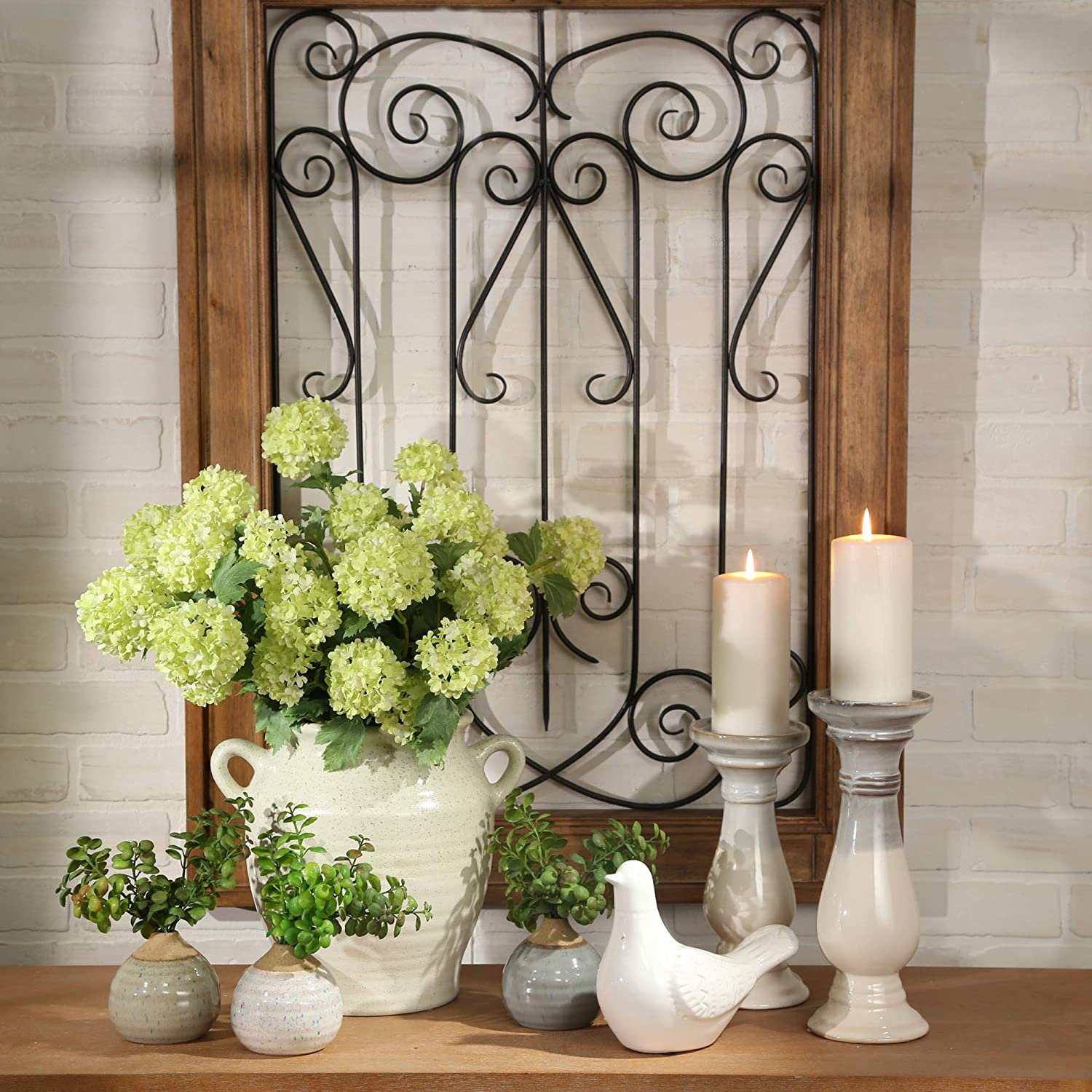 Sagebrook Home 13900-05 Ceramic 9.75 Candle Holder Gray//White 4.25 x 4.25 x 9.75 inches