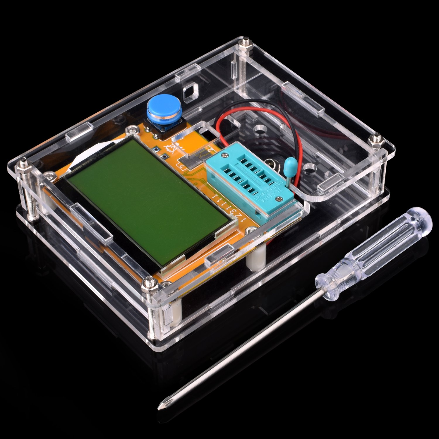 Multifunction Meter DIY kit, kuman Mega 328 Graphic transistor Tester, NPN PNP Diodes Triode Capacitor ESR SCR MOSFET Resistor Inductance LCD Display Checker with case and screwdriver K77 by Kuman (Image #3)
