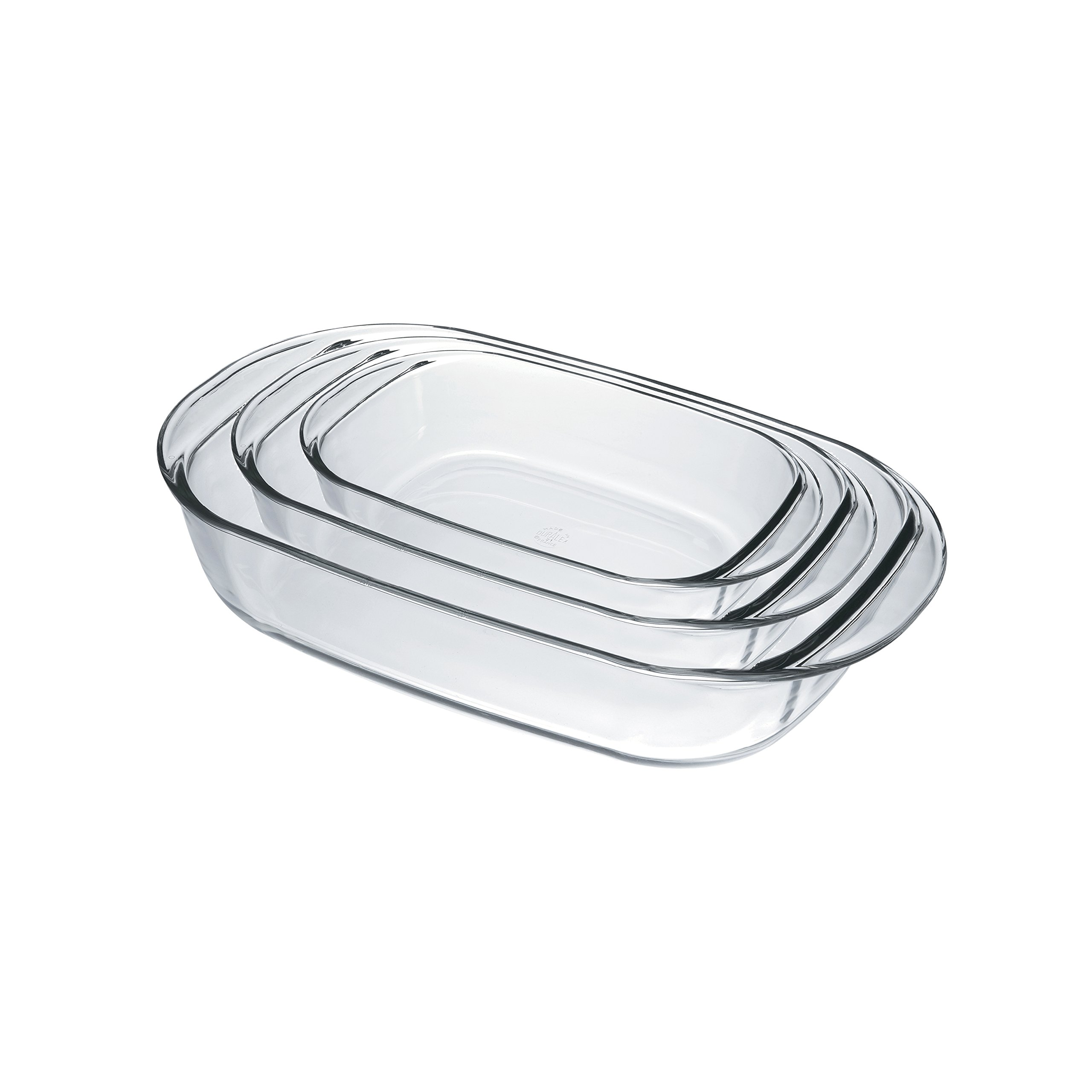 Duralex 9056AS03 Oven Chef Glass Rectangular Baking Dishes/Roasters Set of 3 by Duralex