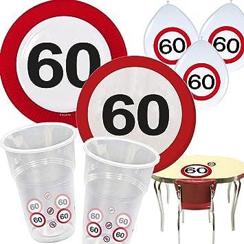 54 Teiliges Partyset 60 Geburtstag Mit Verkehrsschild Design