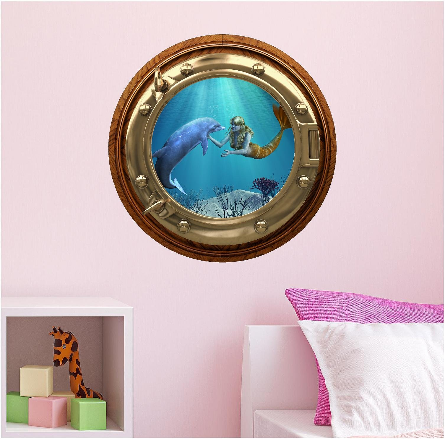 24'' PortScape WALL DECAL Mermaid w/ Dolphin #1 BRONZE Porthole 3D Under The Sea Ocean Window View Sticker Home Peel Stick Easy Mural Decor