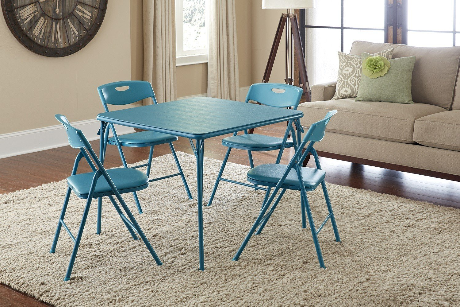 Amazoncom Cosco 5 Piece Folding Table and Chair Set Teal