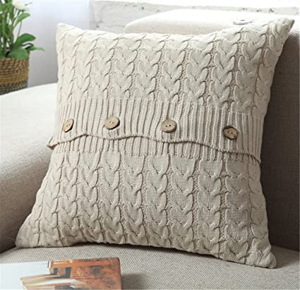 Amazon Com Anduuni Decorative Cotton Knitted Pillow Case Cushion