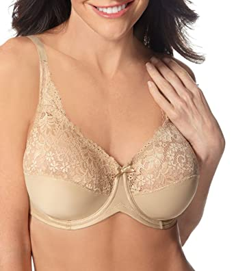 47d897f921c2e Image Unavailable. Image not available for. Color  Lilyette by Bali  Tailored Minimizer Bra With Lace Trim Body Beige 38DDD