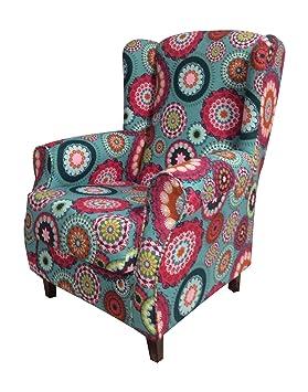 SUENOSZZZ - Irene Sillon Relax, Sillón orejero Sillón Lactancia, Butaca tapizada Mandala Verde. Sillones de salón,Butacas de salón   Sillon Lactancia