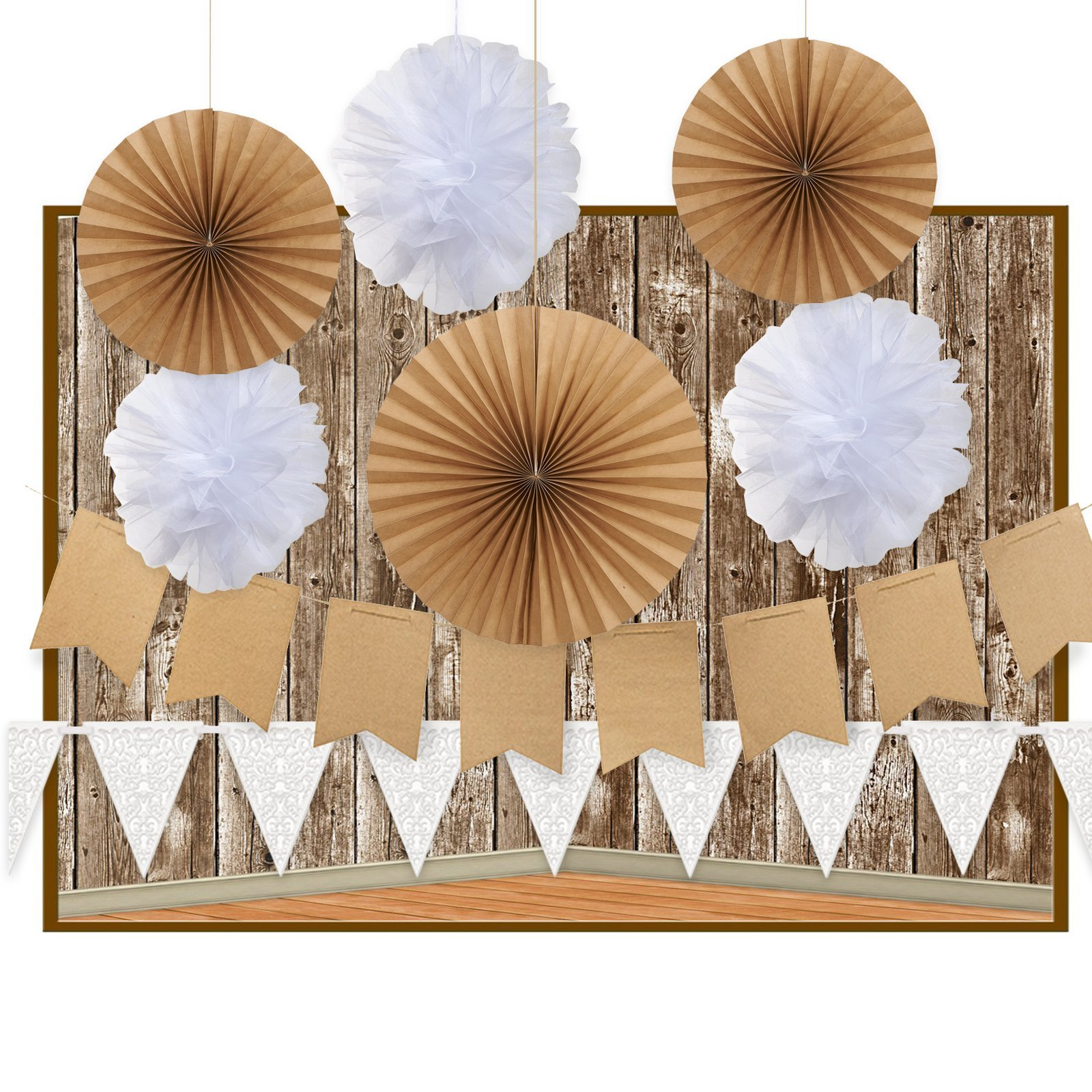 Rustic Shabby Chic Party Backdrop Photobooth Decoration Kit
