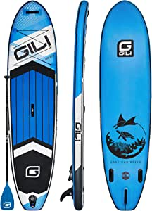 """GILI All Around Inflatable Stand Up Paddle Board Package   10'6 Long x 31"""" Wide x 6"""" Thick   Lightweight & Durable SUP   Stable & Wide Stance"""