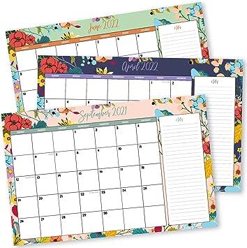 """Amazon.: Desk Calendar 2021 11"""" x 17""""  18 Month Floral Desktop"""