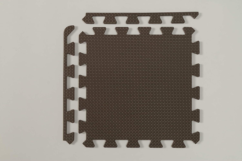 Brown Iris Ohyama 30 cm 8 Piece Interlocking EVA Foam Floor Protection Mat for Gym Fitness