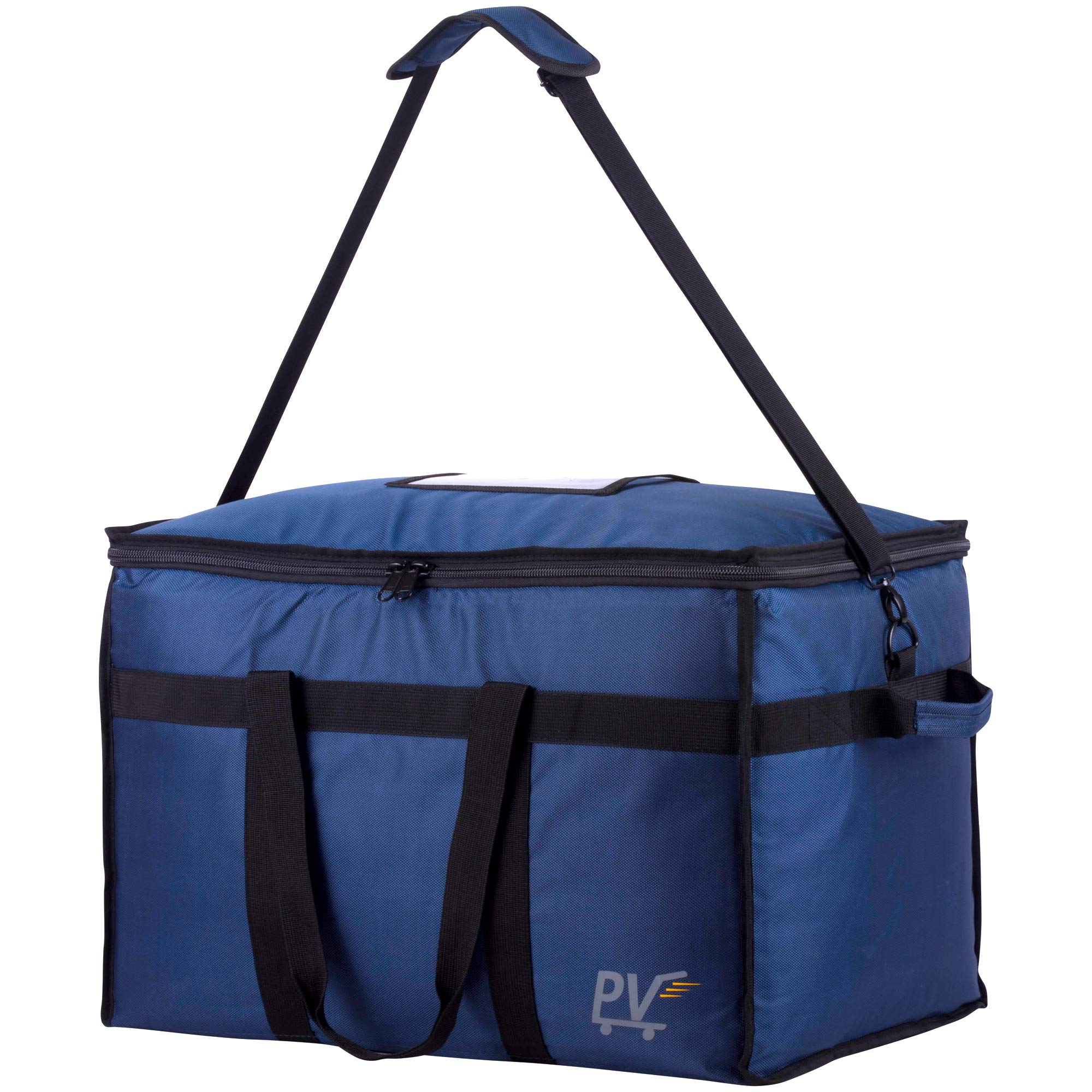 Premium Quality Insulated Food Delivery Bag with Shoulder Strap, Base Insert for Support & Divider for Catering, Grocery, or Doordash; Large Commercial Carrier Transport Bag for Hot Food Tray & Pizza by PV Merchandise