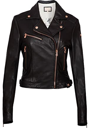 RICA Womens Biker Leather Jacket in Rose Gold Trims (Biker Jacket in Rose Gold Trims_W_Black_Small