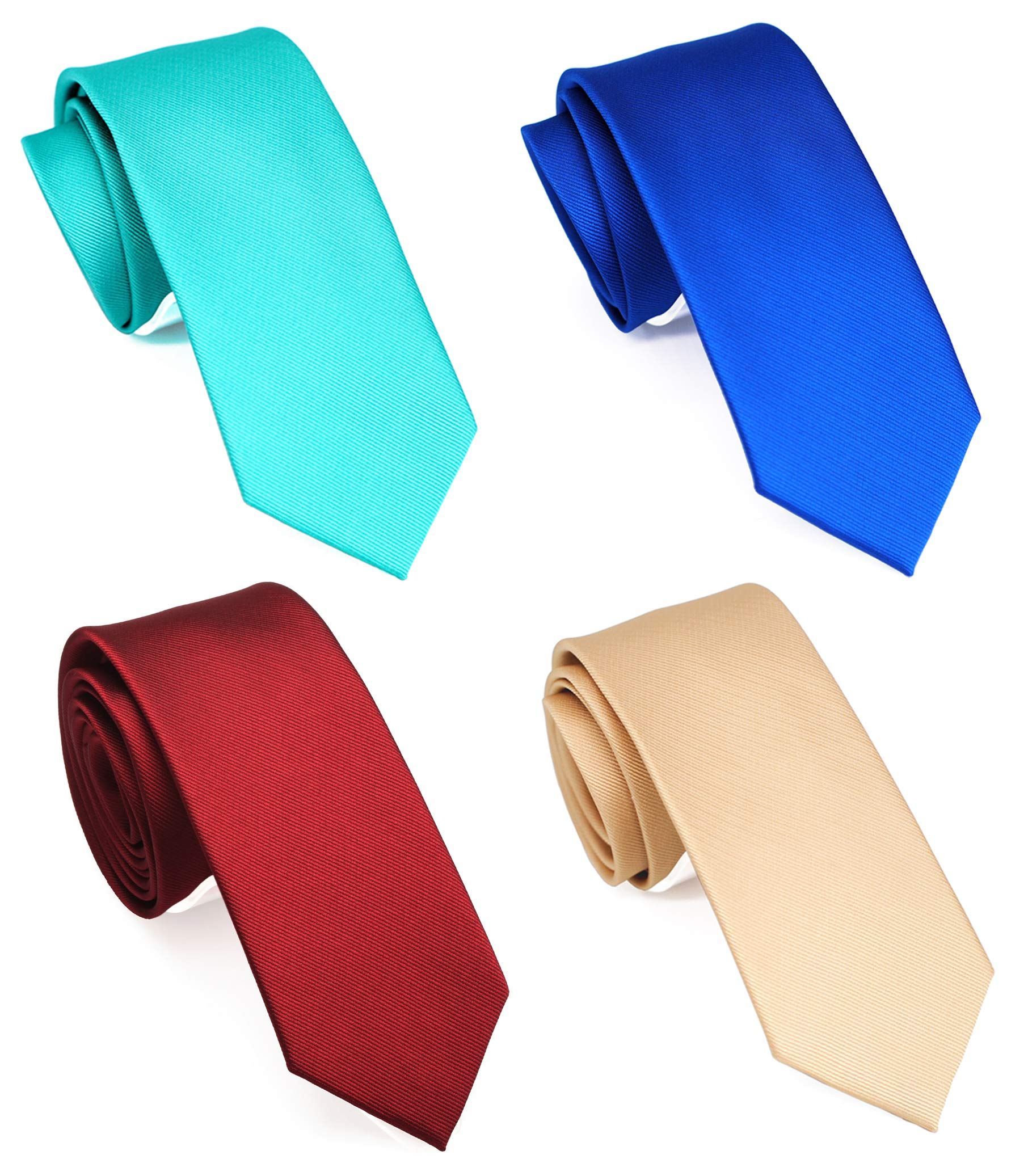 Slim Casual Ties 1//2 2 ZENXUS Cotton Skinny Neckties Check Pattern and Solid Ties Mixed Pack