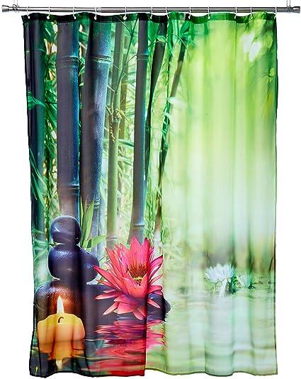 LB Asian Japanese Themed Decor Shower Curtain For Bathroom Lotus Flower Green Bamboo Zen Meditation