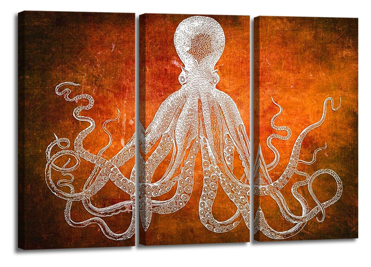 YYL ART-Pure Color Orange Background With White Octopus Canvas Wall Art Print Retro Cuttlefish Squid Marine Life Hand Painted Sketch Vintage Home Decor Ready To Hang By Wood Framed 48X32 Inch Total