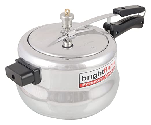 Brightflame Inner Lid Aluminum Pressure Cooker, 5 Liters, Silver, Induction Friendly