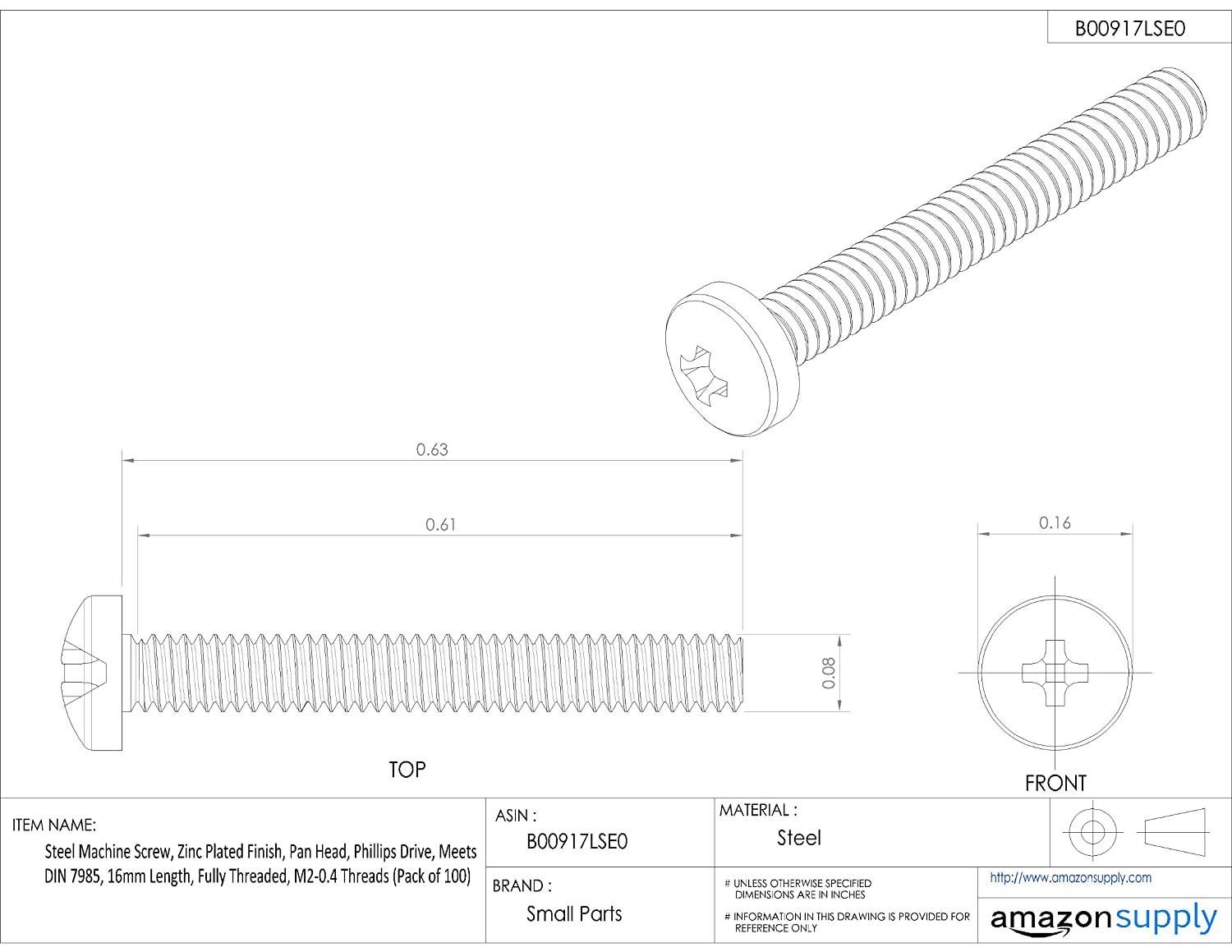 Phillips Drive M6-1 Metric Coarse Threads Small Parts 75mm Length Zinc Plated Finish Pack of 10 Steel Machine Screw Fully Threaded Meets DIN 7985 Pan Head