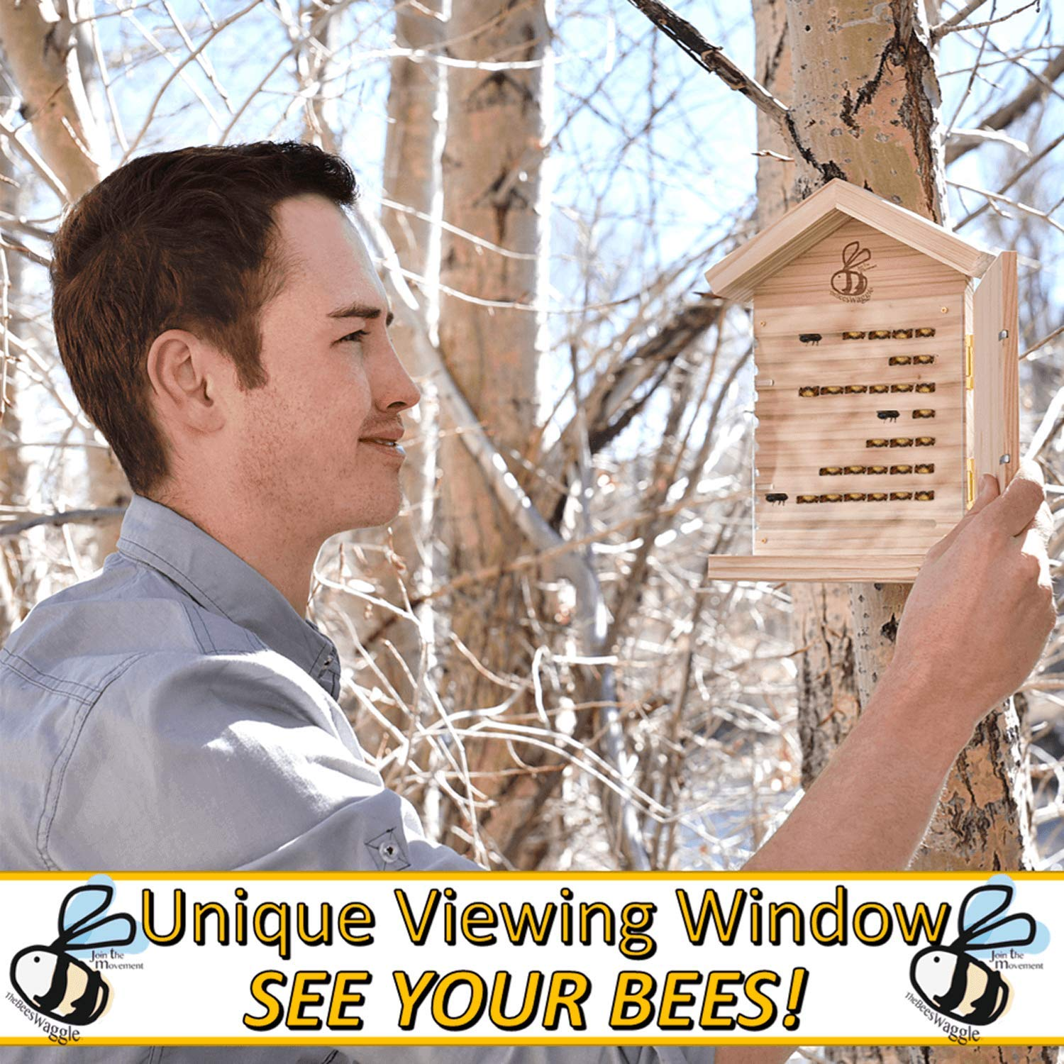CRACK'N Special - Save $30 Now - Mason Bee House for Solitary Bees - Bonus Viewing Window, Wildflower Seeds, Guide - Wooden Beeblock Bee Home Nest to Attract Wild Native Bees to Garden - Great Gift by The Bees Waggle (Image #4)