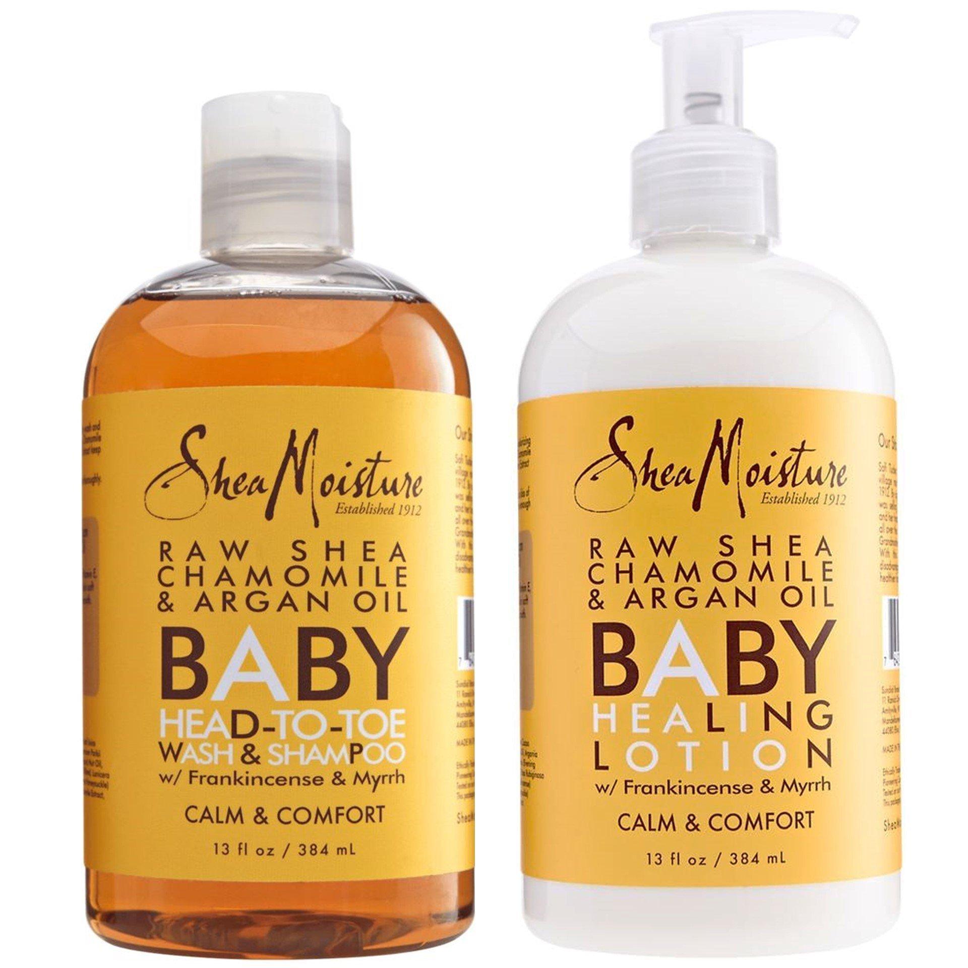 Shea Moisture Calm and Comfort Raw Shea Chamomile and Argan Oil Baby Head to Toe Wash Shampoo and Healing Lotion, 13 fl oz Each