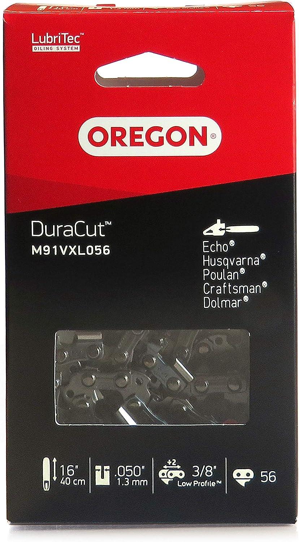 Oregon M91VXL056E DuraCut M91VXL Cadena de Sierra para Husqvarna, CS1400, motosierras McCulloch, eslabones de transmisión, gris, 56 maillons