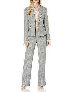 Le Suit Womens Size Plus Herringbone 2 Bttn Shawl Collar Skirt Suit