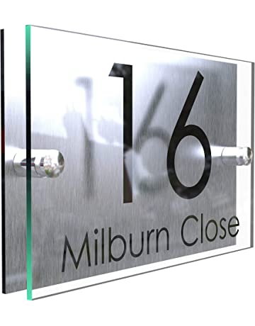Toughened Glass House Number Tile Number 17 FREE POSTAGE Brand New