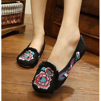 &hua Chaussures brodées, lin, semelle de tendon, style ethnique, chaussures féminines, mode, confortable, chaussures de danse