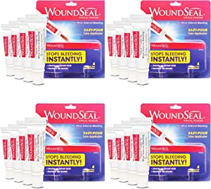 WoundSeal Powder 4 Each (Pack of 4) - Wound Care First Aid for Cuts, Scrapes and Abrasions - Stops Bleeding in Seconds Without Stitches or Bandages