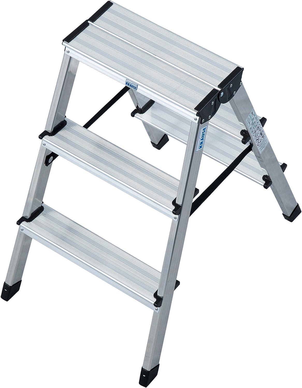 max erreichbare Arbeitshöhe 2650 mm Doppelleiter//Bockleiter aus Alu 2x3 Stufen