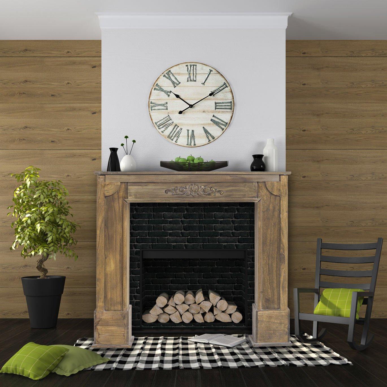 mobili rebecca chimenea decorativa decoracion madera marrón