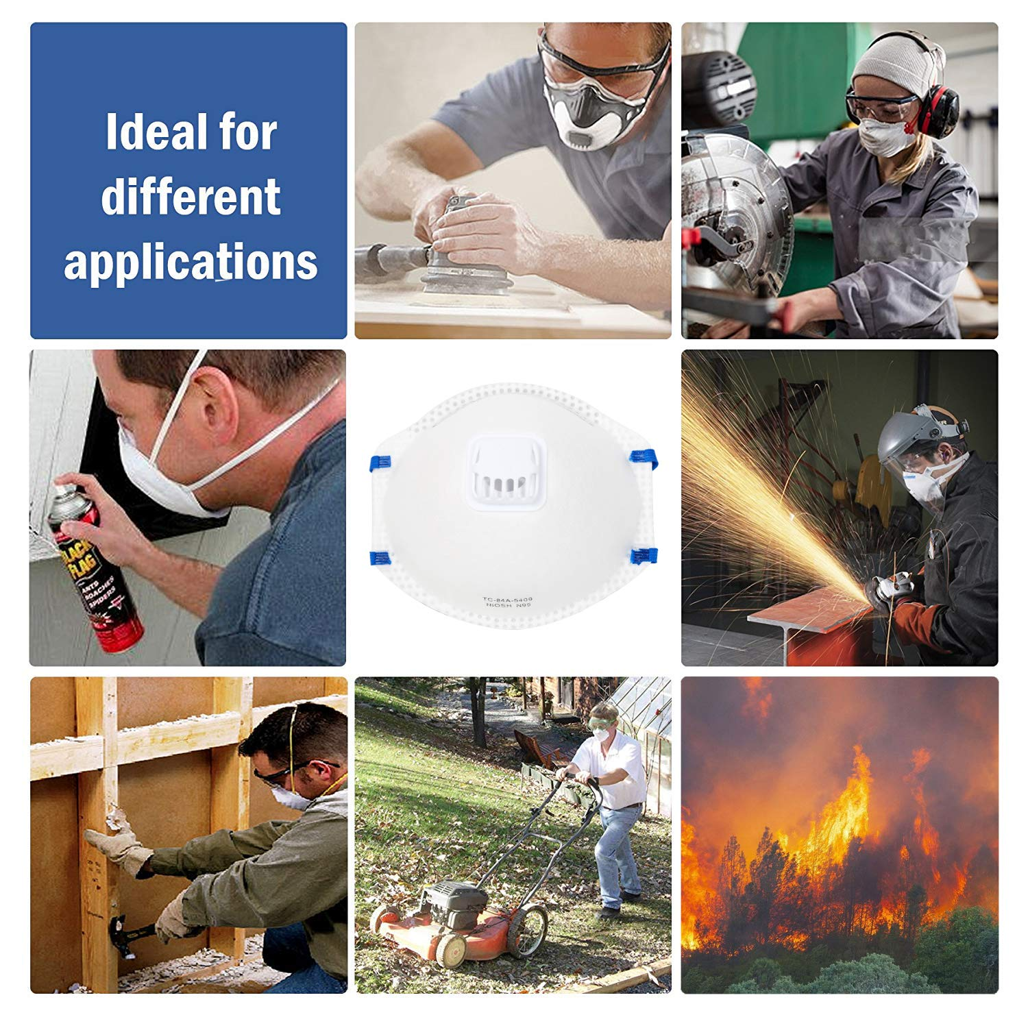 DCM Particulate Respirator N95 NIOSH Certified Safety Protection Face Mask with Cool Exhalation Valve (15 Pack) Particle Disposable Dust Masks for Air Pollution, Fire Smoke, Sanding, Gardening, Mowing by SUHA (Image #7)