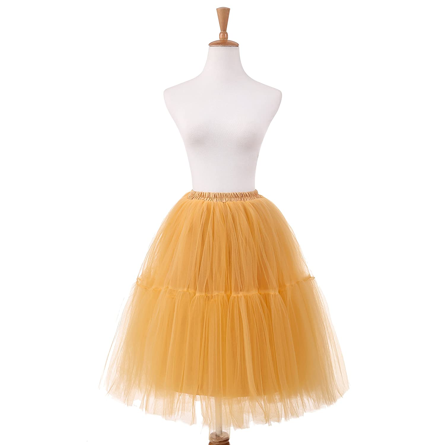 NUOMIQI 5-Layer Princess Midi Knee Length Tutu Skirt Crinoline for Prom Party