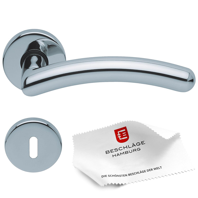 T/ürgriffe von Beschl/äge Hamburg T/ürbeschlag scoop SBL 1084 /— T/ürklinken mit WC Rosetten f/ür Bad und Toilette /— Dr/ückergarnitur//T/ürdr/ücker f/ür Innent/üren Edelstahl poliert rund