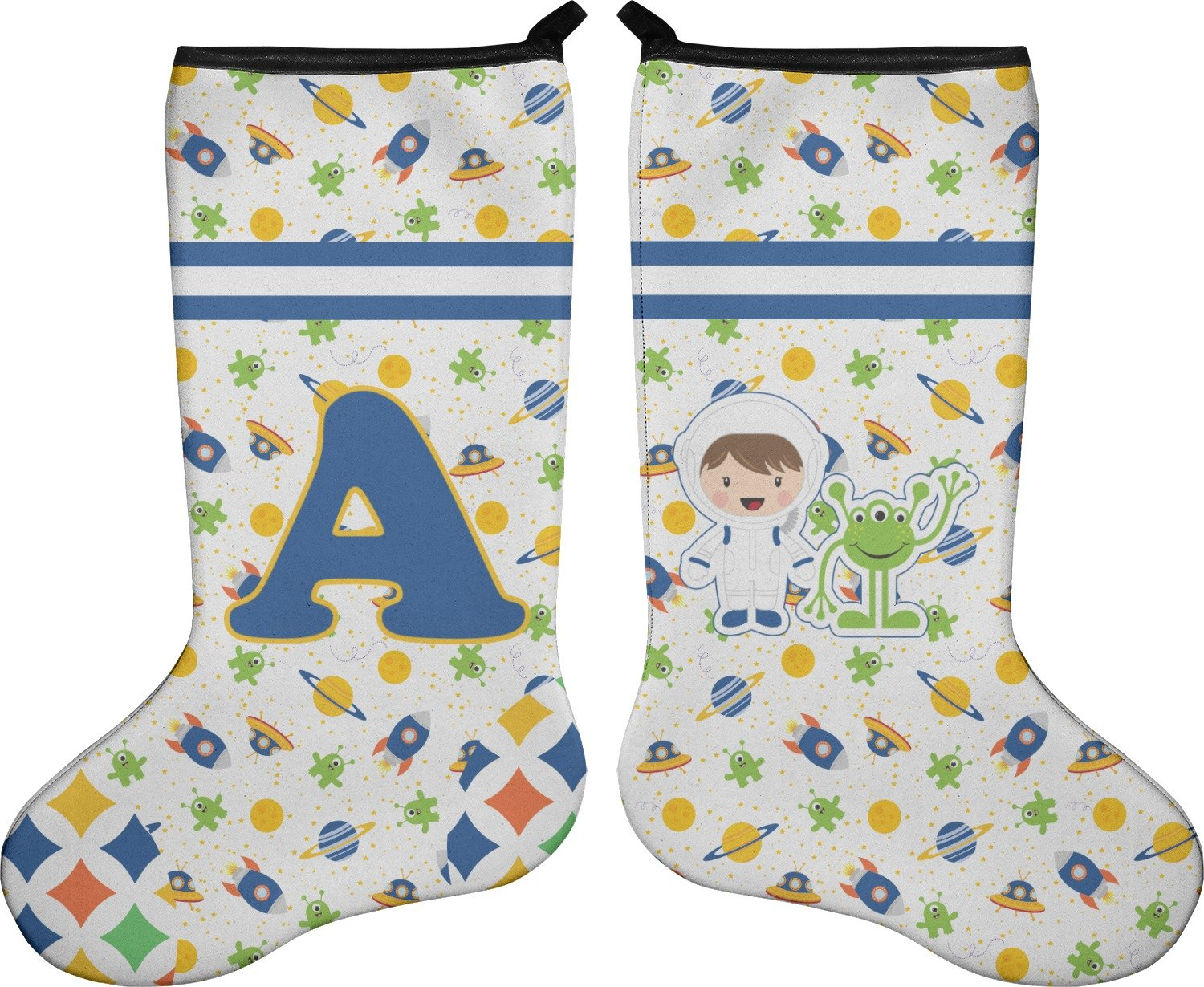 RNK Shops Boy's Space & Geometric Print Christmas Stocking - Double-Sided - Neoprene (Personalized)