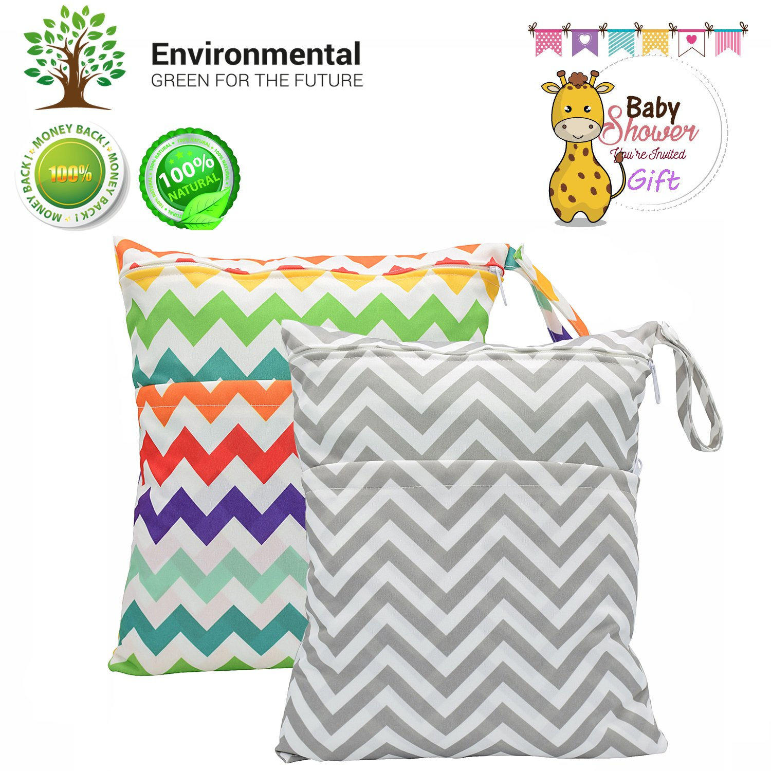Baby Wet/Dry Bag Splice Cloth Diaper Waterproof Bags Large and Small Size with Zipper Snap Handle Pack of 2 (Chevron Rainbow and Grey)