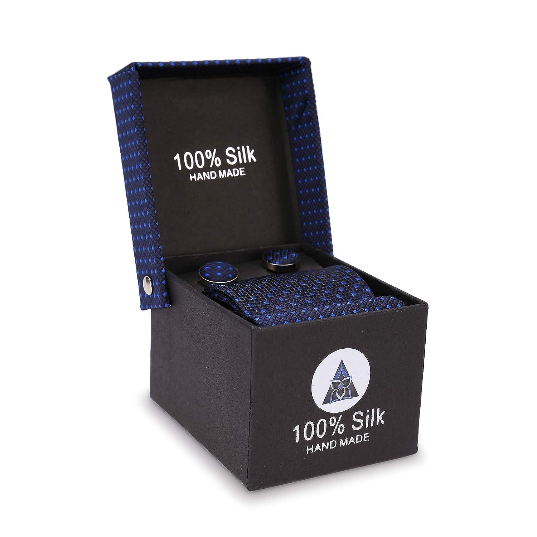 100/% seda Caja de de corbata de seda delgada de hombre caja de regalo gemelos y pa/ñuelo LANSILK Men Business Silk Tie Navy Dark Blue Diamond Slim Skinny Silk Tie