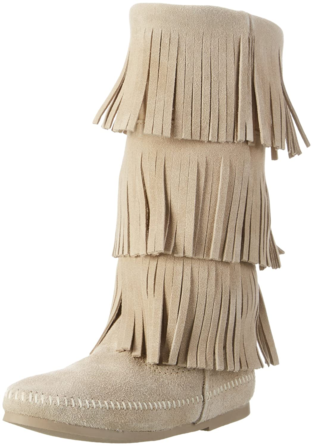 Minnetonka Women's 3-Layer Fringe Boot B013XHWBG2 5 B(M) US|Stone