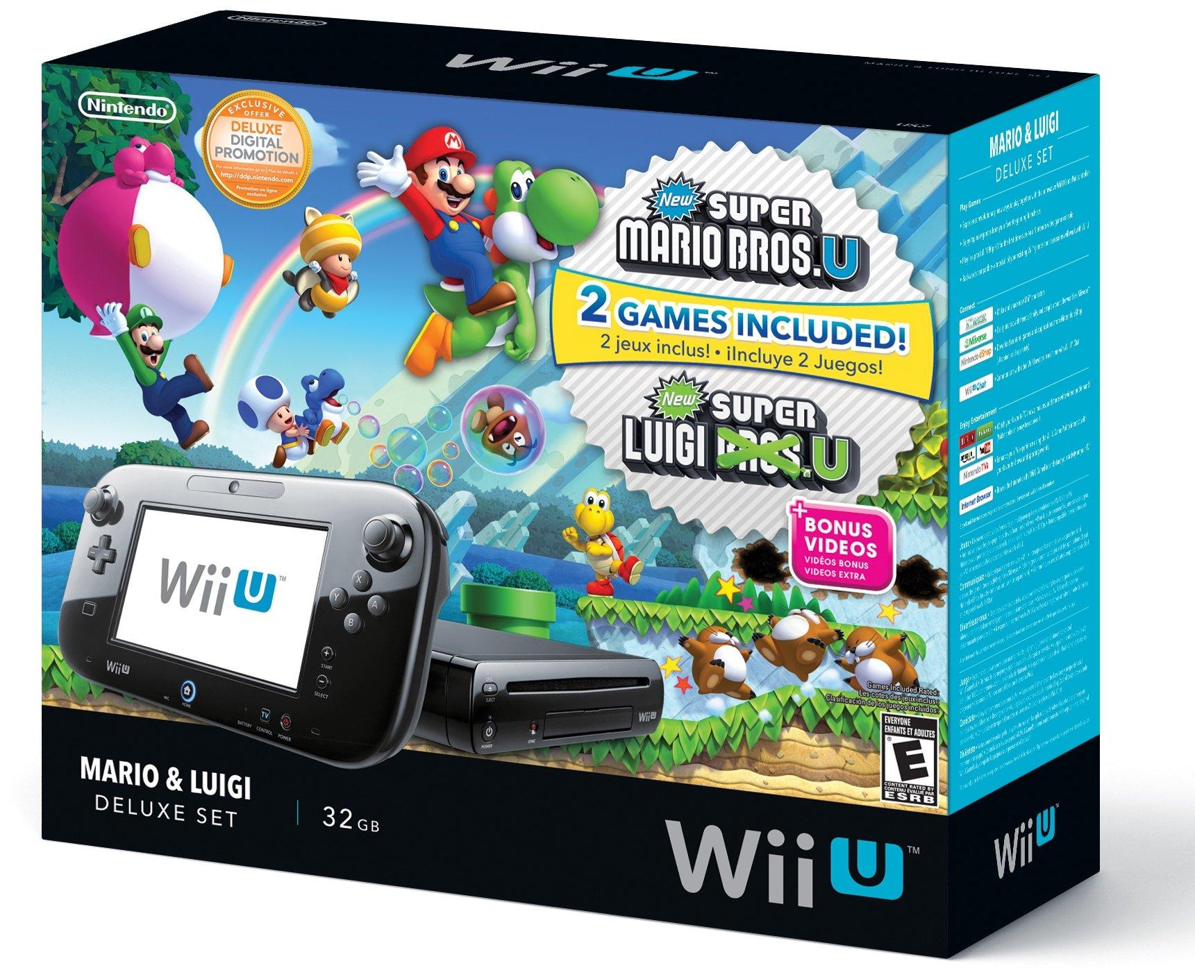 Nintendo Wii U Black Premium Pack (32GB) + New Super Mario Bros.U + New Super Luigi U by Nintendo (Image #1)