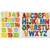 MACMILLAN AQUAFRESH Wooden Puzzle Tray for Kids Numeric & English (Pack of 2)