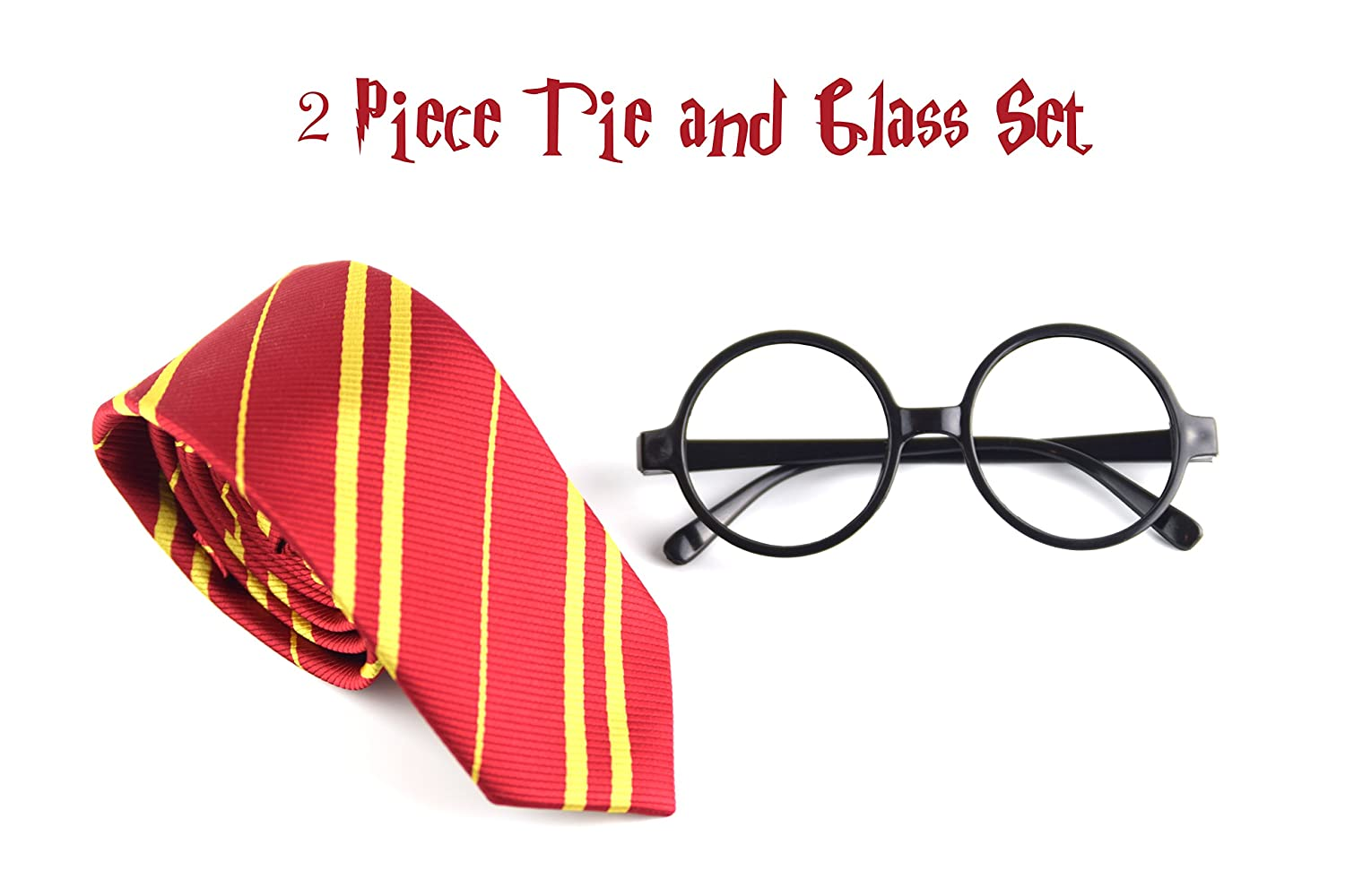 Euphoria Bliss Cosplay Gryffindor Striped Tie with Novelty Glasses Frame Costume Accessories for Halloween, Christmas, Parties And Many More Scarlet Enterprise