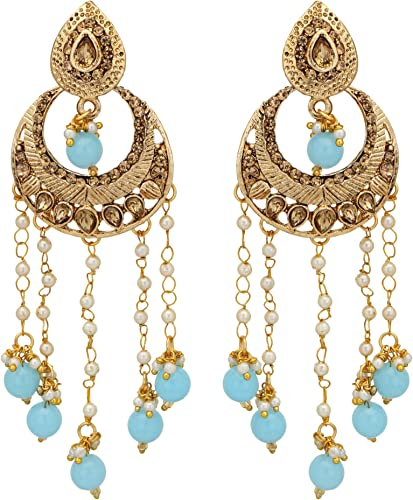 Jwellmart Indian Ethnic Partywear Traditional Gold Plated Jhumka Dangle Faux Pearl CZ Earrings for Women and Girls