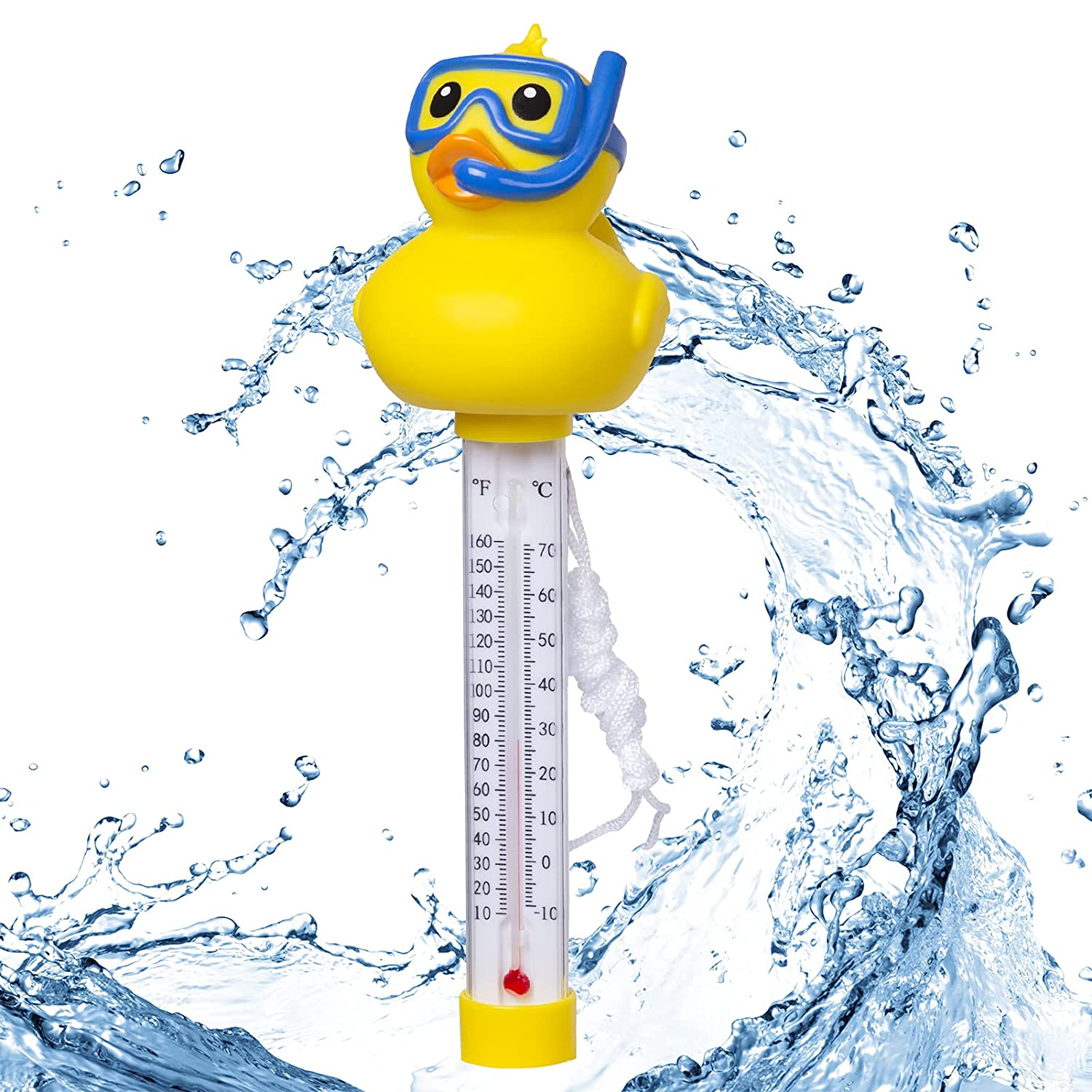 Doli Yearning Swimming Pool Thermometer Floating Easy Read Pond Water Thermometer with String  Shatter Resistant  for Outdoor & Indoor Swimming Pools, Spas, Hot Tubs  Classic Duck