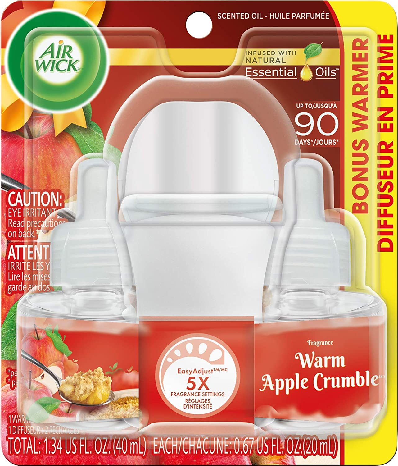 Air Wick Warm Apple Crumble Scented Oil Starter Kit (1 Warmer+2 Refills)